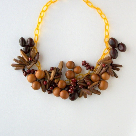 Art Deco Necklace Celluloid and Seeds.
