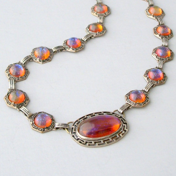 Art Deco Necklace . Dragons Breath Jelly Opal . Very Rare .