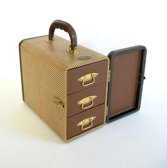 Art Deco Case with Drawers . Slide Library .  Tweed . Early Plastic .