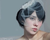 Bridal hair clip fascinator or comb lace ruched tulle little flowers and detachable mini tulle blusher birdcage veil - MECIA
