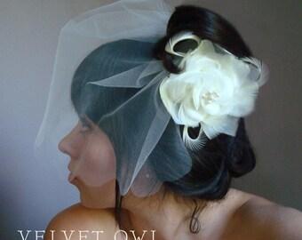 Wedding veil, birdcage veil, blusher veil, tulle birdcage veil, mini veil, cream veil, wedding veil flower, bridal veil ivory,