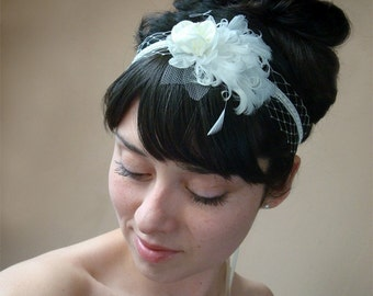 Bridal headband Ivory French Russian netting feather ribbon tie unique veil alternative SHIP READY - MADELINE