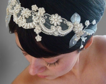 Wedding headband, Bridal headband, mini veil, wedding veil and headpiece, bridal headpiece, lace headband, lace veil,
