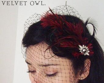 Black birdcage veil, red veil, bridal clip, Deep Red clip, red feather fascinator, red birdcage veil, black veil, black veil set, veil,