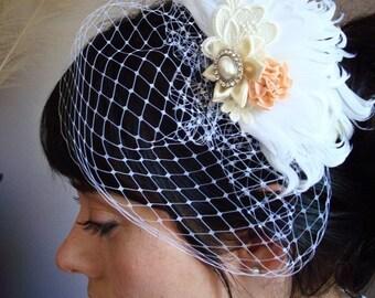 Birdcage veil, bridal veil, feather veil, feather hair clip, vintage veil, vintage birdcage veil, feather fascinator, peach flower veil,