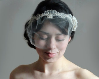Bridal unique duchess headband vintage beaded lace with pearls and crystal beads with detachable mini tulle veil set - ESPERANZA