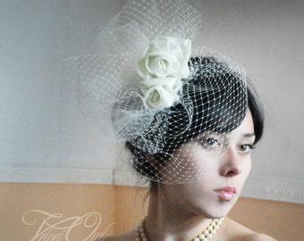 Couture veil, birdcage veil, bespoke veil, bridal couture veil, bridal fascinator, bridal veil set, bridal hair clip, veil sale, veil