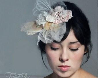 Bridal couture veil, bespoke hat, bridal mini hat, pink fascinator, bridal fascinator, pink veil, pink bridal clip,