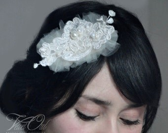 Bridal hair pin clip fascinator or comb hand sewn crystals lace pearls with birdcage veil - MECIA