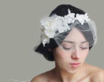 Hair vine, Bridal lace headpiece, bridal lace headband, lace veil, lace mini veil, bridal veil, detachable veil, flower veil, wedding veil,