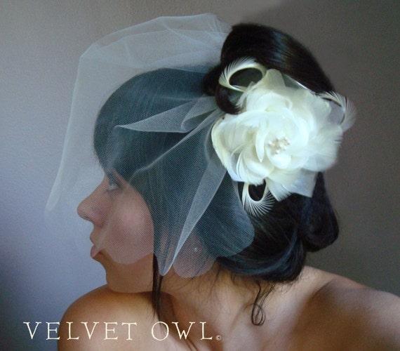 Tulle mini veil, tulle blusher veil, tulle birdcage veil, Bridal cream veil, birdcage veil set, Ivory veil, ivory veil set, bridal hair clip