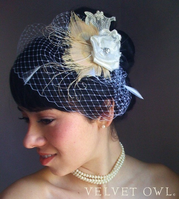 Reserved for Kristin- Lianna- Ivory peacock bridal fascinator and detach birdcage veil