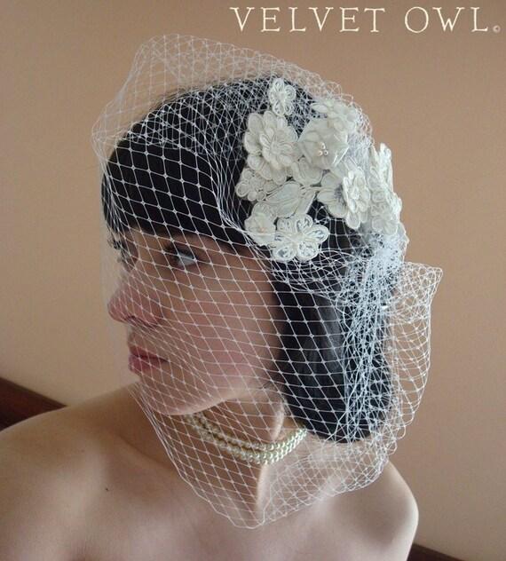 Lace birdcage veil, bridal veil, full birdcage veil, chin birdcage veil, Alencon lace veil, lace headpiece veil, detachable veil, veil sale,