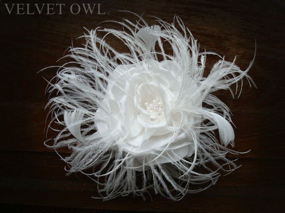 Bridal feather fascinator, with detachable veil, bridal veil set, elbow length tulle veil, veil sale, bridal veil, wedding flower, hat