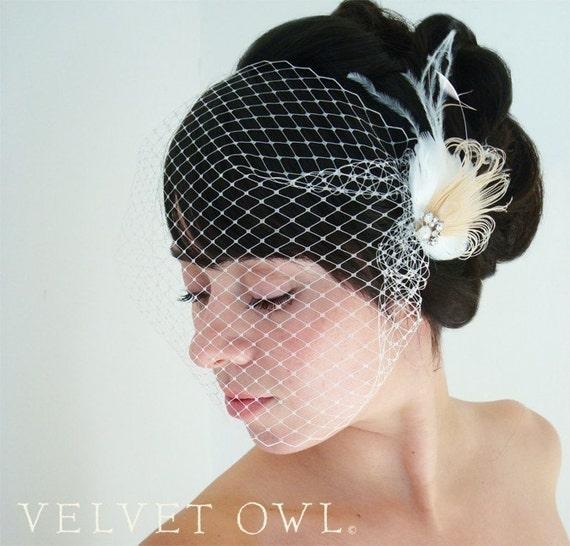 Birdcage veil, bandeau veil, birdcage veil set, bridal veil, wedding veil, ivory peacock veil, detachable veil, bandeau birdcage veil,