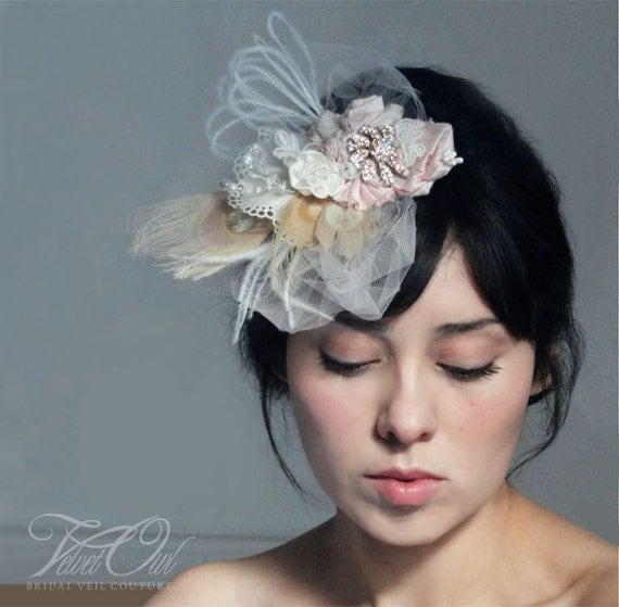 Pale Blush Pink couture hair clip or comb fascinator mini bridal hat veil alternative - LUISELLE