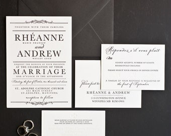 Wedding Invitation, French Canadian Letterpress Collection