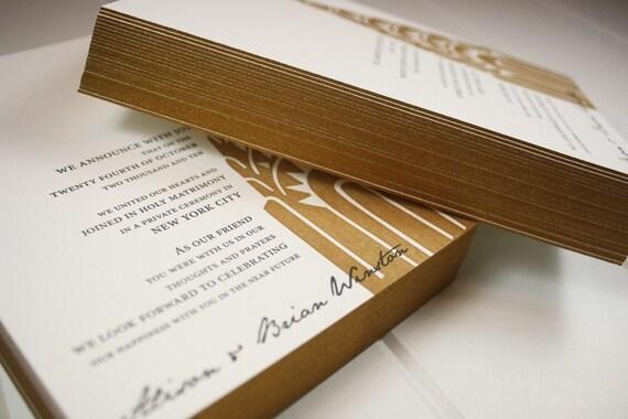 Wedding Invitation, Art Deco New York Letterpress Collection