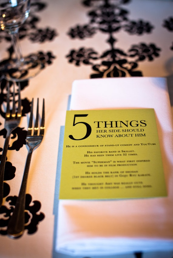 Wedding Reception Cards - Five Things About Him and Her featured by Bridal Guide