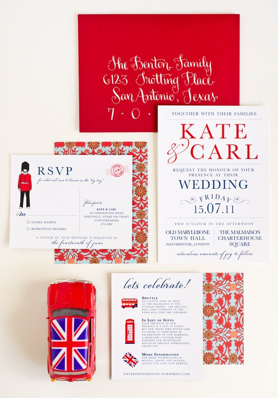 Wedding Invitation, London Calling UK Collection