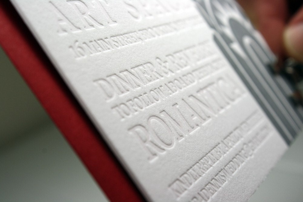 Wedding Invitation Blind Emboss New York Letterpress – Embossed Invitation Cards