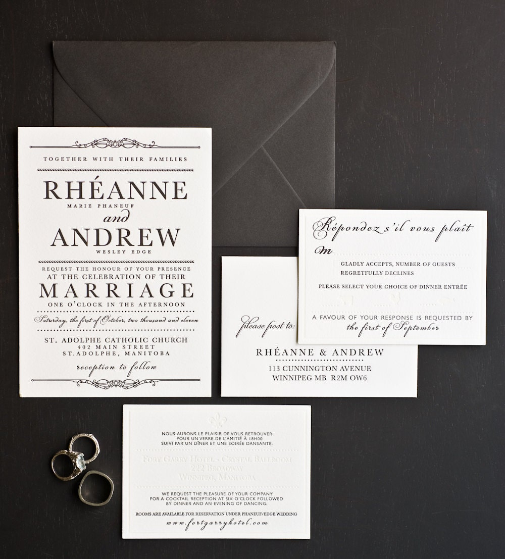 Wedding Invitation French Canadian Letterpress Collection