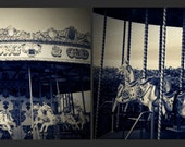 """Set of Two Sepia Fairground Carousel Prints - 7x5"""" - whimsical, childhood, diptych, shabby chic, vintage, retro"""