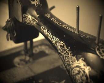 Sepia Antique Singer Sewing Machine Photograph - black and white, hobby, stitching, needlework, embroidery, vintage