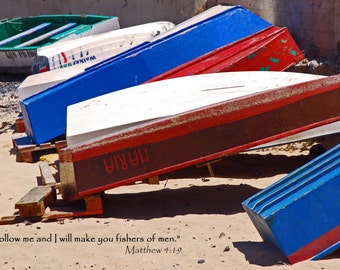Matthew 4.19 - Christian Art 10x8 Photo with Bible Verse - Fishers of Men, boats, red, white, blue, sea, scripture, text