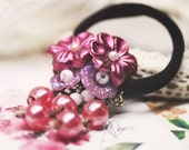 Modest plum flowers ponytail holder