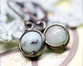 Confidence petite Amazonite wire wrap earrings - 8mm