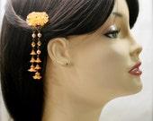Tangerine blossom hair pick
