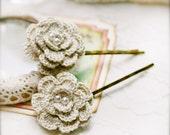 Buff Begonia crocheted flower bobby pin x 2