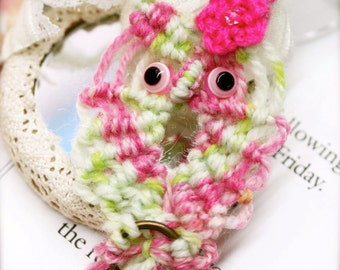 My Hippy pet owl with evil eyes macrame pendant necklace