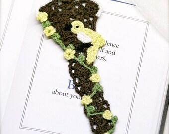 Cottage birdhouse crochet bookmark