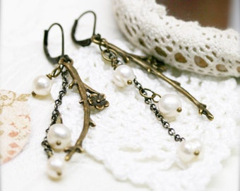 Mermaid's fantasy earrings, freshwater pearls