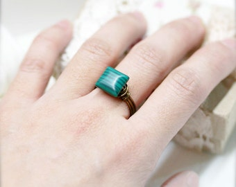 Growth - Malachite wire wrapped ring (SR)