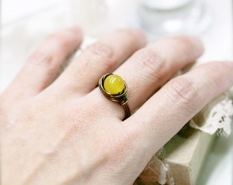 Huangyu Chinese jade wire wrapped ring (SR)