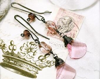 Dark fairy crystal drop earrings