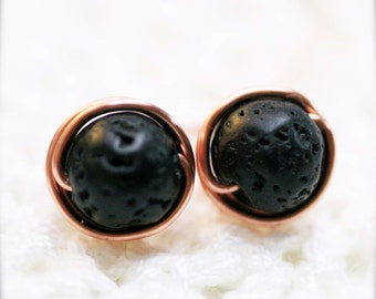 6mm - Sophine ear studs - Lava stone (SS6)