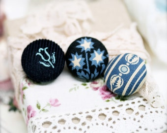 """Drizzling bliss fabric covered button ear studs, set of 3 -  3/4"""", 19mm (BS)"""