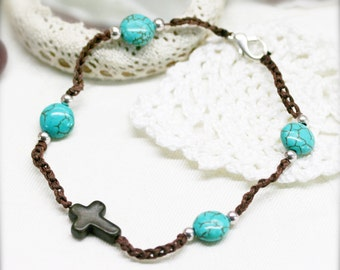 Wholeness  anklet - dyed howlite -- mens and women anklet