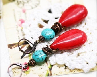 Savoir faire earrings, dyed howlite
