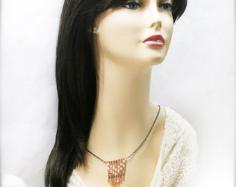 Bohemian fringe necklace with tangerine champagne glass crystal