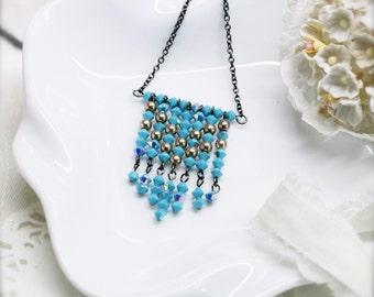 Bohemian fringe necklace with opaque Swarovski crystal