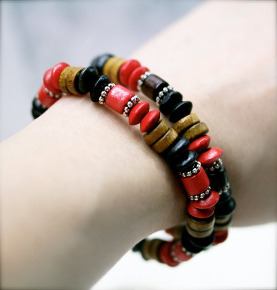 Boho warm and earthly coco wooden stretch bracelet x 2 (unisex)