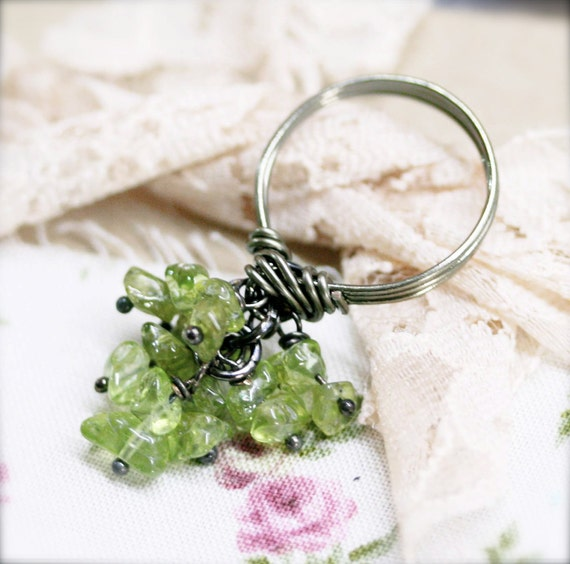 Peridot globule wire wrapped ring (SR)