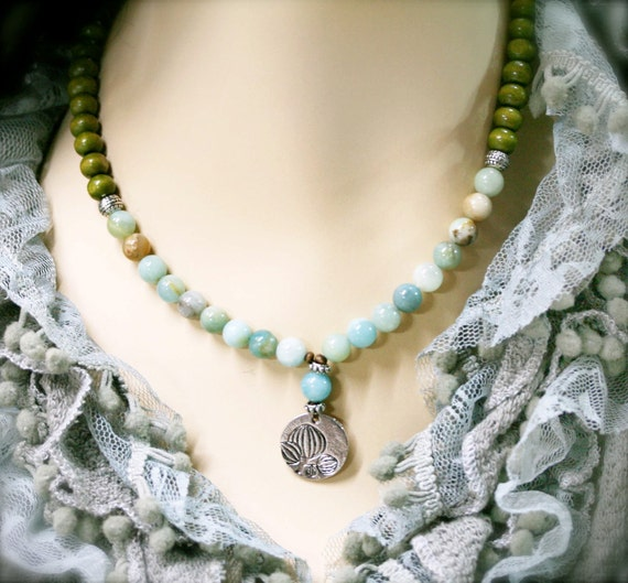 Flourish with competence necklace, flower amazonite and lotus charm