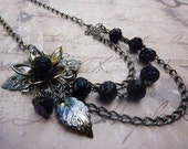 Moody Midnight Purple Roses Asymmetrical Necklace