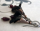 Midnight Garnet Flower Earrings
